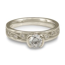 Extra Narrow Continuous Garden Gate Engagement Ring with Gems in Diamond