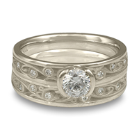 Extra Narrow Continuous Garden Gate Bridal Ring Set with Gems  in Platinum