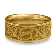 Wide Continuous Garden Gate Wedding Ring in 14K Yellow Gold