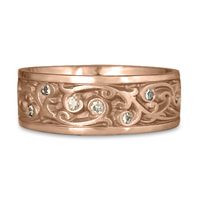 Wide Continuous Garden Gate Wedding Ring with Gems  in 14K Rose Gold