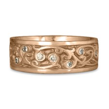 Wide Continuous Garden Gate Wedding Ring with Gems  in 18K Rose Gold