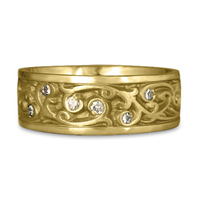 Wide Continuous Garden Gate Wedding Ring with Gems  in 18K Yellow Gold