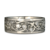 Wide Continuous Garden Gate Wedding Ring with Gems  in Platinum