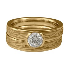 Extra Narrow Papyrus Bridal Ring Set in 14K Yellow Gold