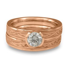 Extra Narrow Papyrus Bridal Ring Set in 18K Rose Gold