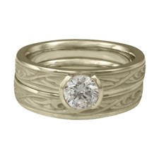 Extra Narrow Papyrus Bridal Ring Set in 18K White Gold