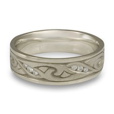 Narrow Papyrus Wedding Ring with Gems  in 14K White Gold