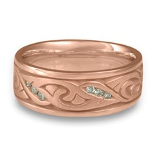 Wide Papyrus Wedding Ring with Gems in 14K Rose Gold
