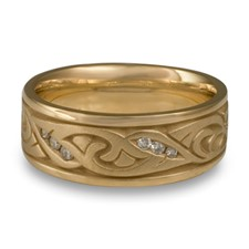 Wide Papyrus Wedding Ring with Gems in 14K Yellow Gold
