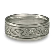 Wide Papyrus Wedding Ring with Gems in Diamond