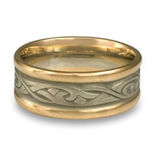 Narrow Two Tone Papyrus Wedding Ring in 14K Gold Yellow Borders/White Center Design