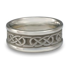 Narrow Self Bordered Love Knot Wedding Ring in Palladium