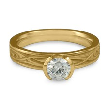 Extra Narrow Yin Yang Engagement Ring in 14K Yellow Gold