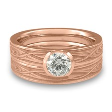 Extra Narrow Yin Yang Bridal Ring Set in 14K Rose Gold