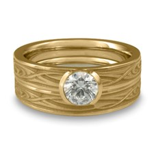 Extra Narrow Yin Yang Bridal Ring Set in 14K Yellow Gold