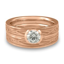 Extra Narrow Yin Yang Bridal Ring Set in 18K Rose Gold
