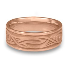 Wide Yin Yang Wedding Ring in 14K Rose Gold