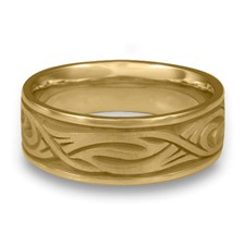 Wide Yin Yang Wedding Ring in 14K Yellow Gold