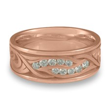 Wide Yin Yang Wedding Ring with Gems  in 14K Rose Gold