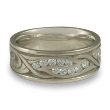 Wide Yin Yang Wedding Ring with Gems  in 14K White Gold