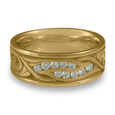 Wide Yin Yang Wedding Ring with Gems  in 14K Yellow Gold
