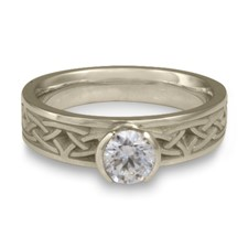 Extra Narrow Celtic Bordered Arches Engagement Ring in 14K White Gold