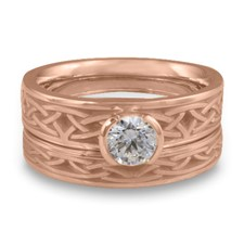 Extra Narrow Celtic Arches Bridal Ring Set in 14K Rose Gold