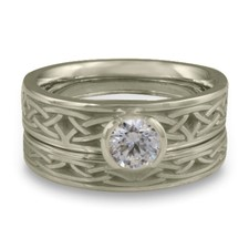 Extra Narrow Celtic Arches Bridal Ring Set in 14K White Gold
