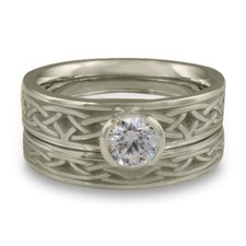 Extra Narrow Celtic Arches Bridal Ring Set in Diamond