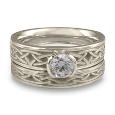 Extra Narrow Celtic Arches Bridal Ring Set in Platinum