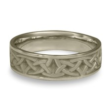 Narrow Celtic Arches Wedding Ring in 14K White Gold