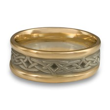 Extra Narrow Two Tone Celtic Arches Wedding Ring in 14K Gold Yellow Borders/White Center Design