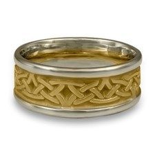 Narrow Two Tone Celtic Arches Wedding Ring in 18K Gold White  Borders/Yellow Center Design