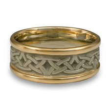 Narrow Two Tone Celtic Arches Wedding Ring in 14K Gold Yellow Borders/White Center Design