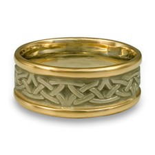 Narrow Two Tone Celtic Arches Wedding Ring in 18K Gold Yellow Borders/White Center Design