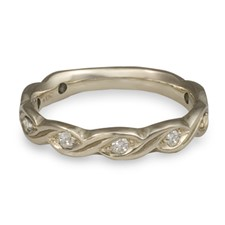 Narrow Tides Wedding Ring with Gems in Diamond