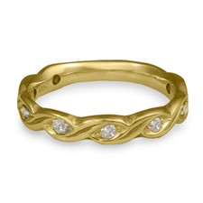 Narrow Tides Wedding Ring with Gems in 18K Yellow Gold