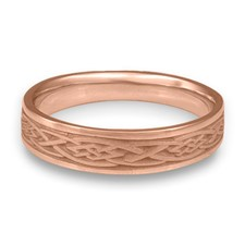 Narrow Celtic Diamond Wedding Ring in 14K Rose Gold