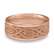 Wide Celtic Diamond Wedding Ring in 14K Rose Gold