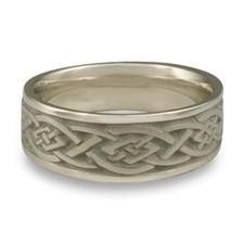 Wide Celtic Diamond Wedding Ring in 14K White Gold