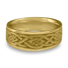 Wide Celtic Diamond Wedding Ring in 14K Yellow Gold