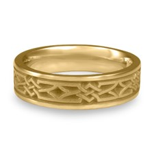 Narrow Weaving Stars Wedding Ring in 14K Yellow Gold