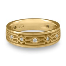Wide Weaving Stars Wedding Ring with Gems  in 14K Yellow Gold