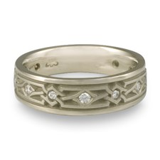 Wide Weaving Stars Wedding Ring with Gems  in Diamond