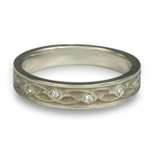 Extra Narrow Water Lilies Wedding Ring with Gems  in Platinum