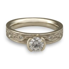 Extra Narrow Water Lilies Engagement Ring with Gems in 14K White Gold