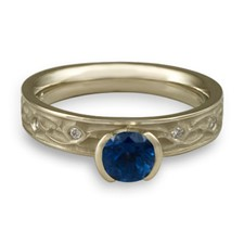 Extra Narrow Water Lilies Engagement Ring with Gems in Sapphire