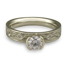 Extra Narrow Water Lilies Engagement Ring with Gems in Platinum