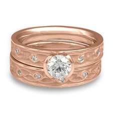 Extra Narrow Water Lilies Bridal Ring Set with Gems in 14K Rose Gold