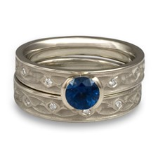 Extra Narrow Water Lilies Bridal Ring Set with Gems in Sapphire